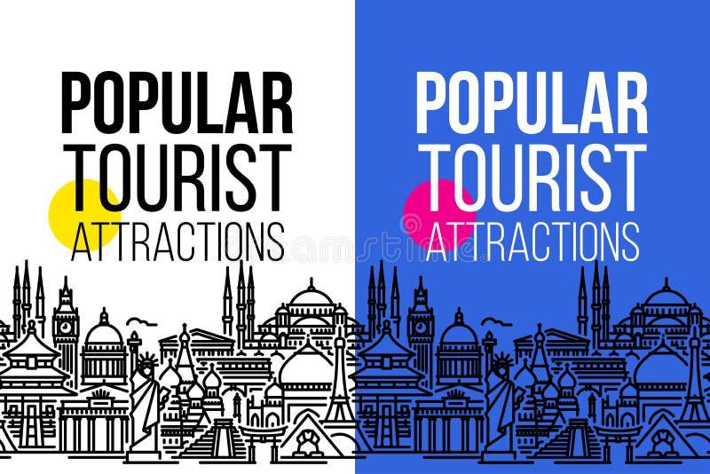Bannière verticale avec le paysage urbain sans couture des attractions touristiques les plus populaires des mondes Ligne plate mo illustration de vecteur