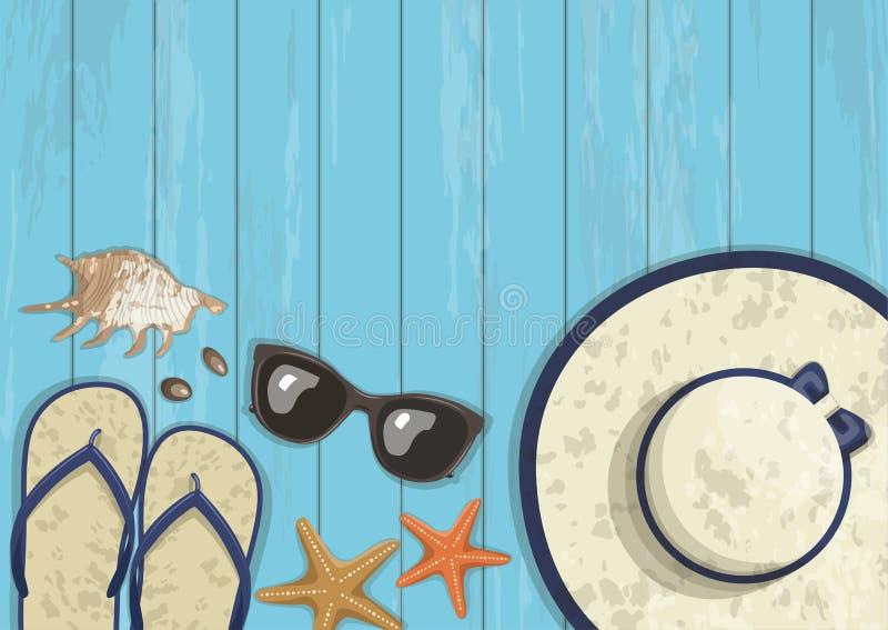 Bannière verticale d'été conceptuel sur en bois bleu illustration stock