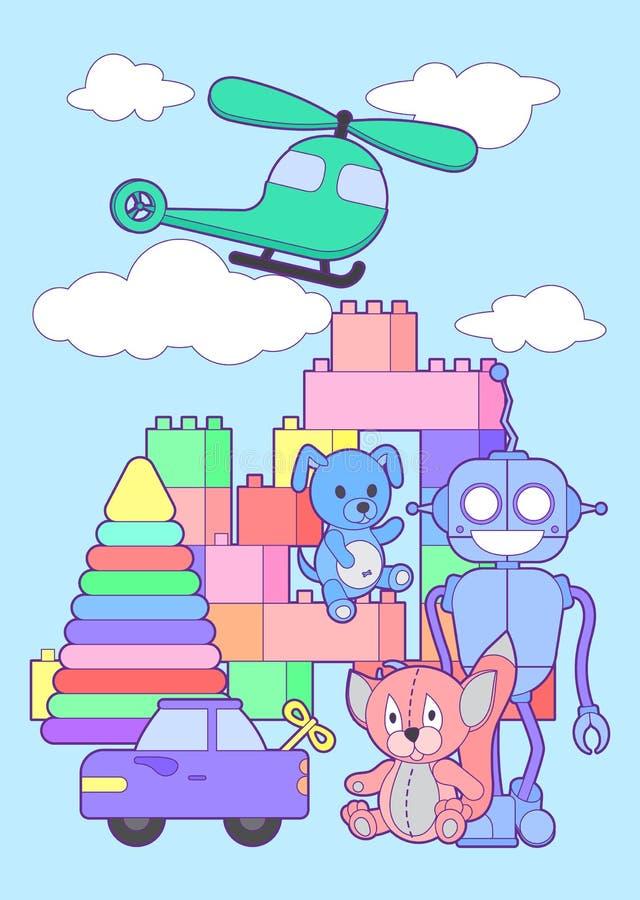 Bannière verticale d'enfants de boutique mignonne de jouets avec l'ensemble de différents jouets pour des garçons et des filles d illustration de vecteur