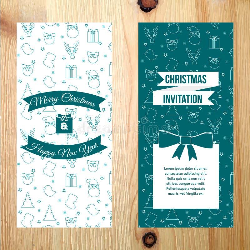 Bannière verticale de Joyeux Noël avec le modèle sur le fond en bois de texture images stock