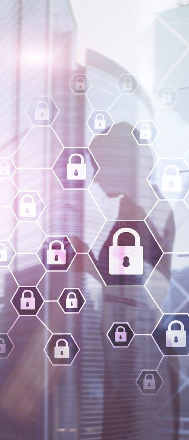 Bannière verticale de panorama La d?fense d'intimit? de Cybersecurity, d'information, de protection des donn?es, de virus et de s illustration libre de droits