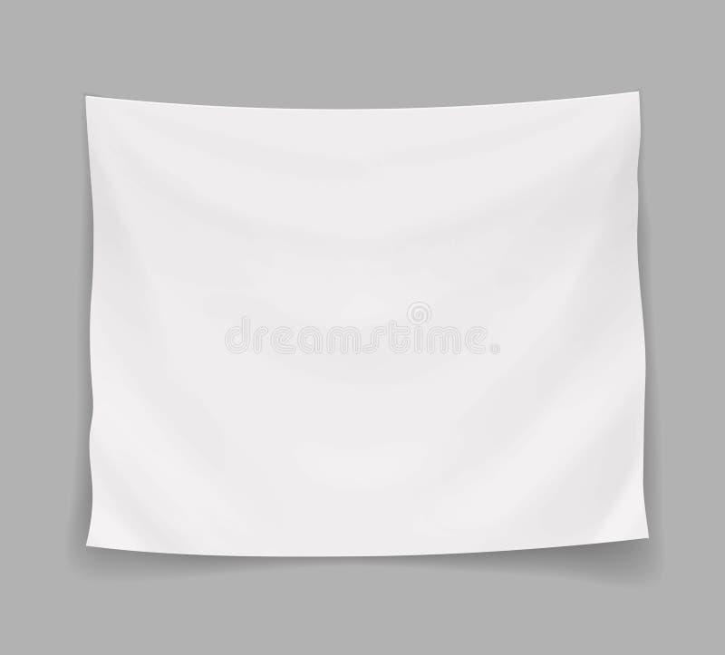 Bannière vide blanche ou drapeau vide accrochant, illustration de vecteur illustration de vecteur
