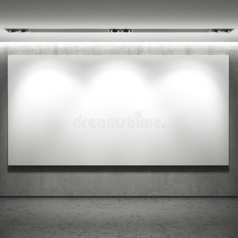 Bannière vide blanche sur le mur images stock