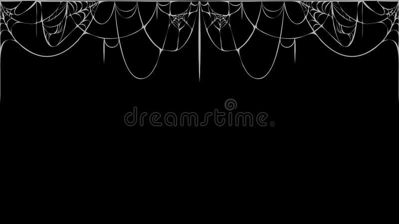 Bannière web cobweb horizontale vectorielle sur fond noir silhouette de toile d'araignée déchirée blanche sur tableau noir illustration de vecteur