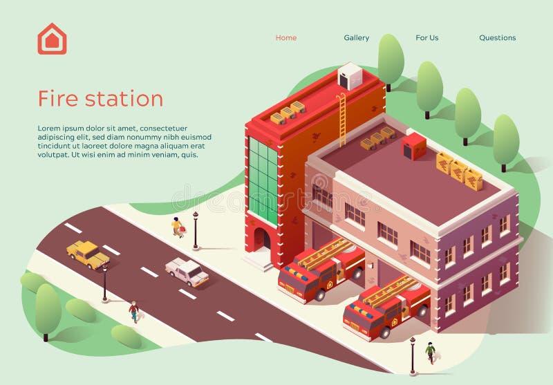 Bannière Web Fire Station Letting Cartoon Flat illustration stock