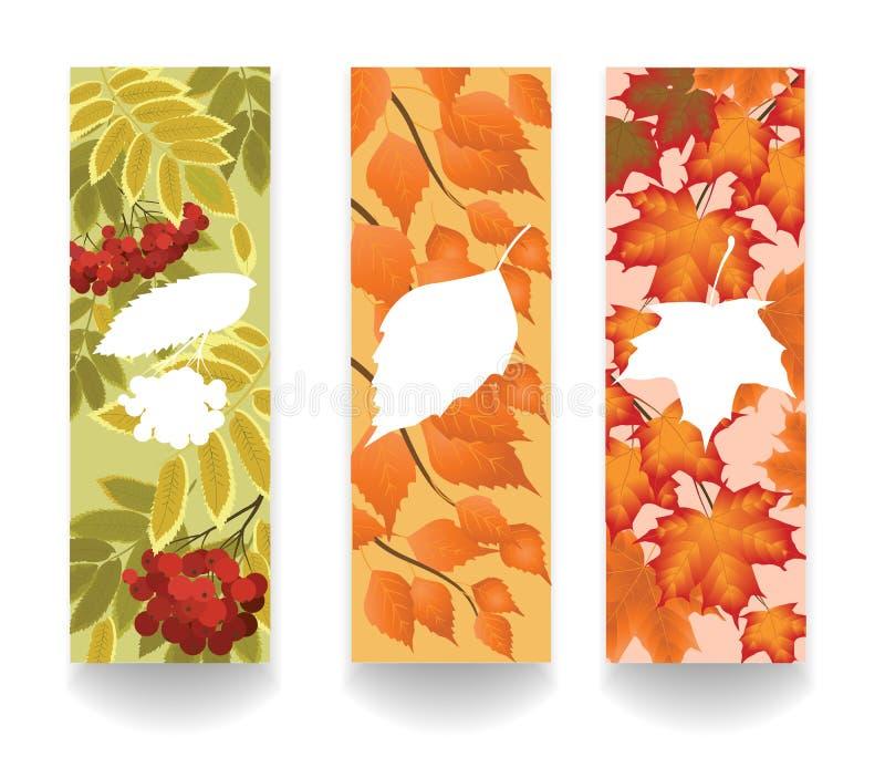 Bannières avec des feuilles d'automne illustration libre de droits