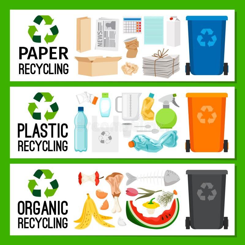 Bannières avec les déchets organiques en plastique de papier illustration stock