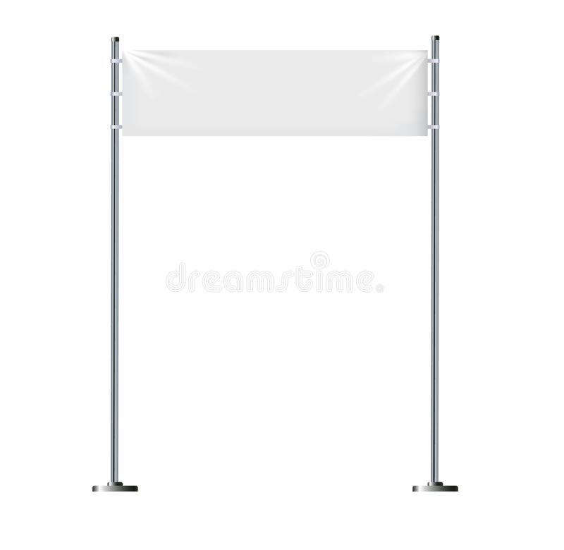 Bannières blanches de textile avec des plis Maquette accrochante vide de tissu Éléments de conception graphique pour faire de la  illustration stock