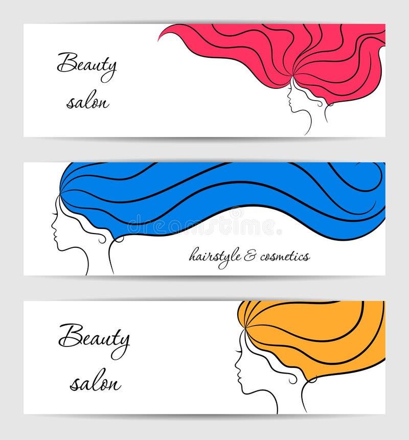 Bannières blanches horizontales pour la beauté et salon de cosmétiques avec des profils de fille de découpe illustration de vecteur