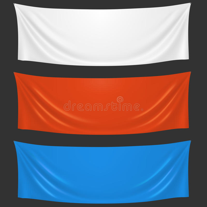 Bannières blanches, rouges et bleues vides d'accueil de tissu illustration stock