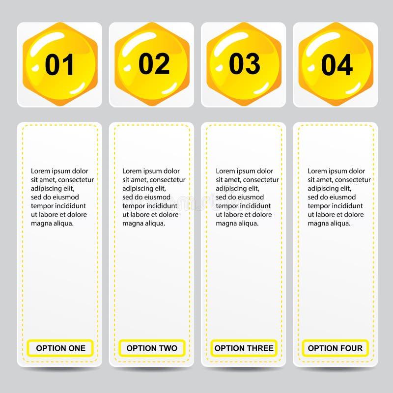Bannières calibre de nombre d'affaires de conception moderne de ruche ou disposition de site Web Information-graphiques Vecteur illustration libre de droits
