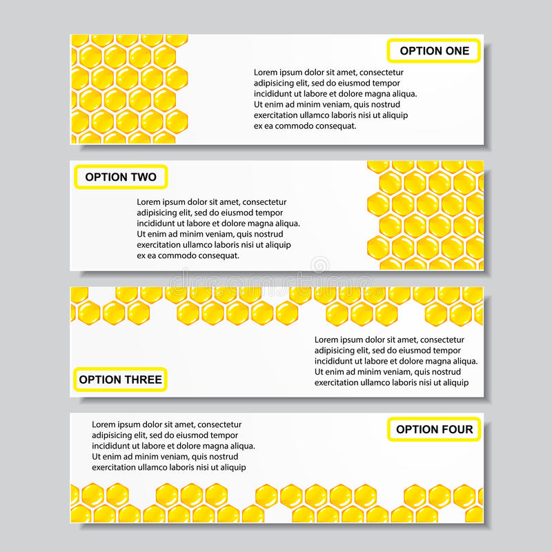 Bannières calibre de nombre d'affaires de conception moderne de ruche ou disposition de site Web Information-graphiques Vecteur image stock