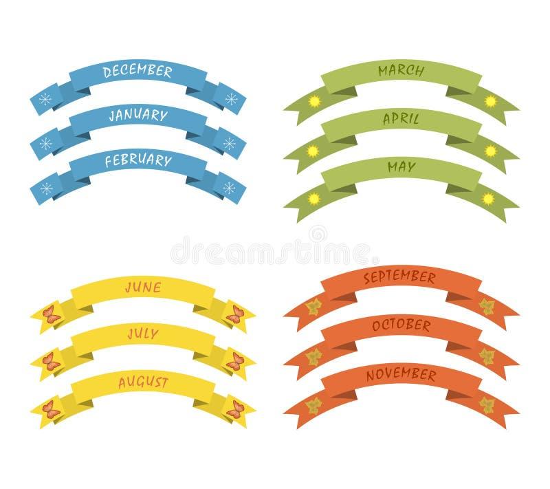 Bannières colorées avec des mois d'année illustration libre de droits