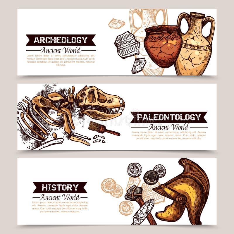 Bannières colorées par croquis horizontal d'archéologie illustration de vecteur