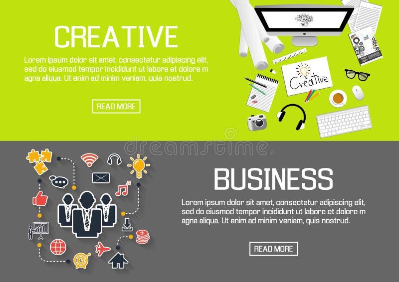 Bannières conçues plates pour créatif et des affaires Vecteur illustration libre de droits