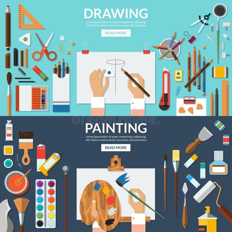 Bannières conceptuelles de dessin et de peinture réglées illustration libre de droits