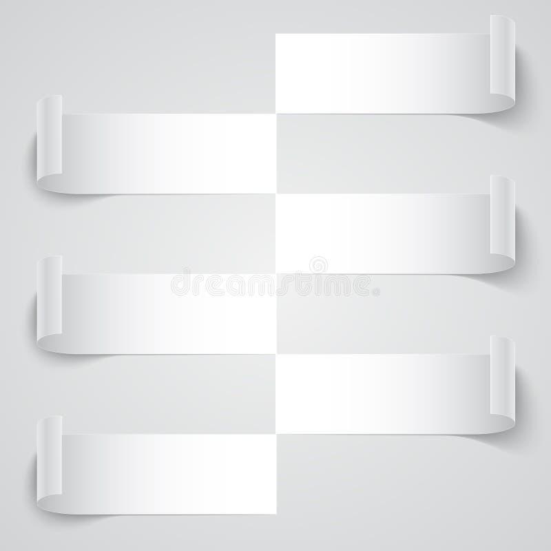 Bannières courbées de rayure de papier blanc avec des ombres dessus illustration stock