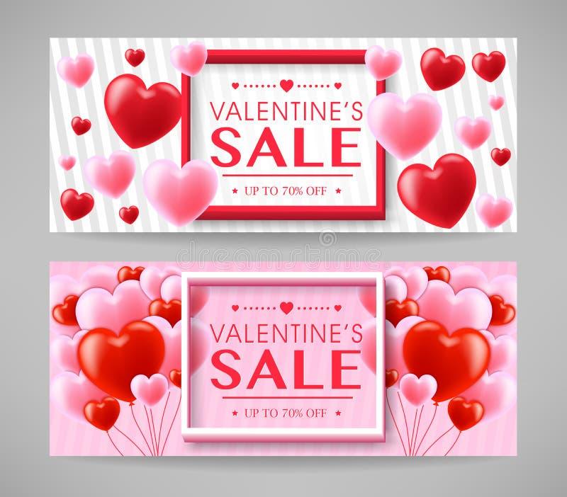 Bannières créatives promotionnelles de conception de vente de jour de valentines réglées illustration libre de droits