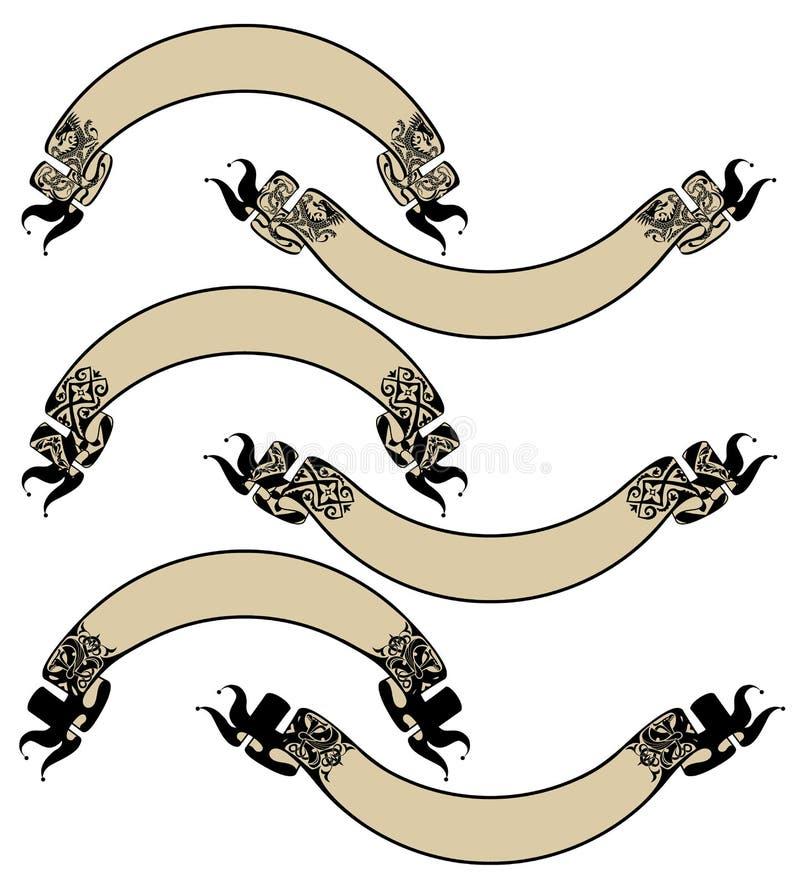 Bannières décoratives de vintage illustration libre de droits