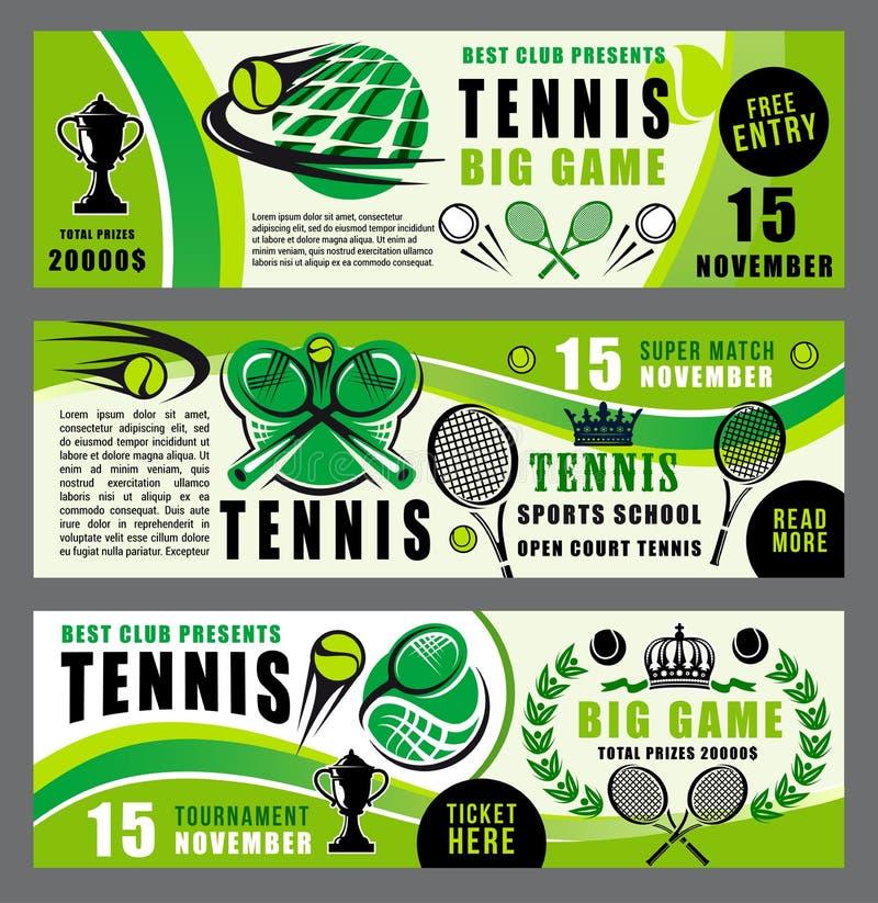 Bannières d'école et de tournoi de jeu de sport de tennis illustration libre de droits