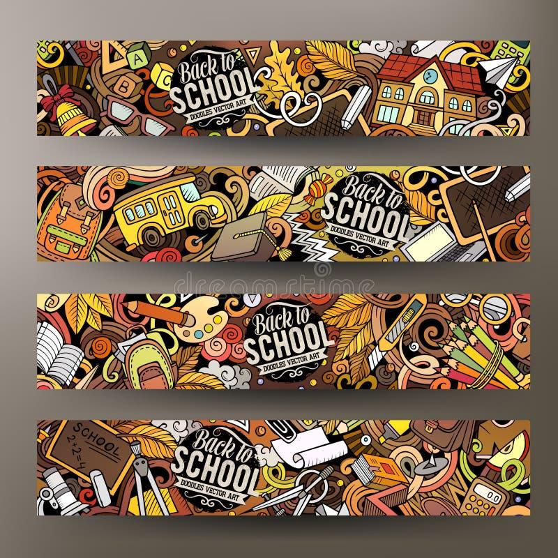 Bannières d'école tirées par la main de griffonnages de vecteur coloré mignon de bande dessinée illustration stock