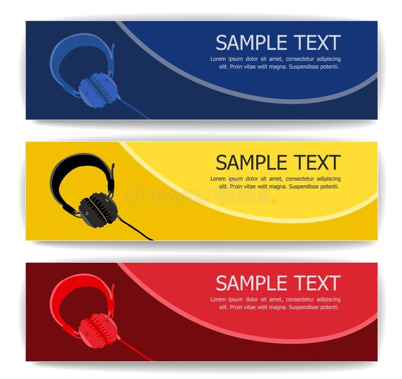 Bannières d'écouteur illustration de vecteur
