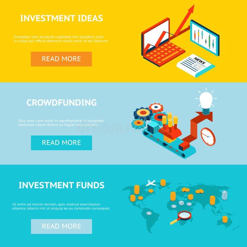 Bannières d'affaires Crowdfunding, idées d'investissement illustration de vecteur