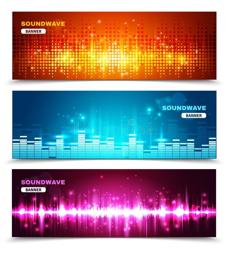Bannières d'affichage d'ondes sonores d'égaliseur réglées illustration libre de droits