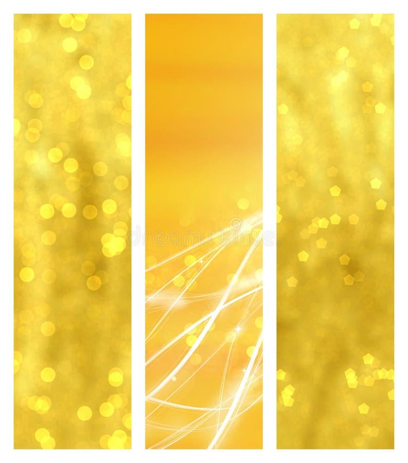 Bannières d'or de bokeh illustration libre de droits