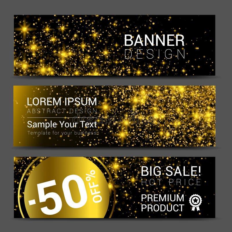 Bannières d'or horizontales de la poussière réglées Bannière de promotions de remise illustration libre de droits