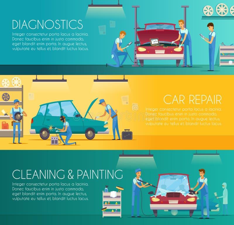 Bannières de bande dessinée de centre de réparation de voiture rétros illustration de vecteur