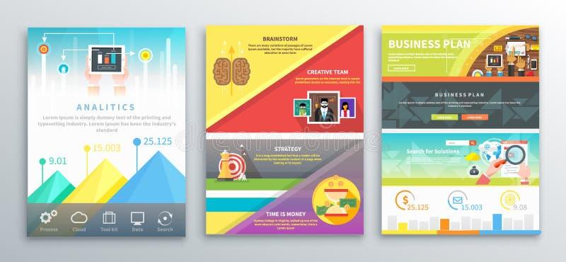 Bannières de brochures d'affaires d'Infographic illustration libre de droits