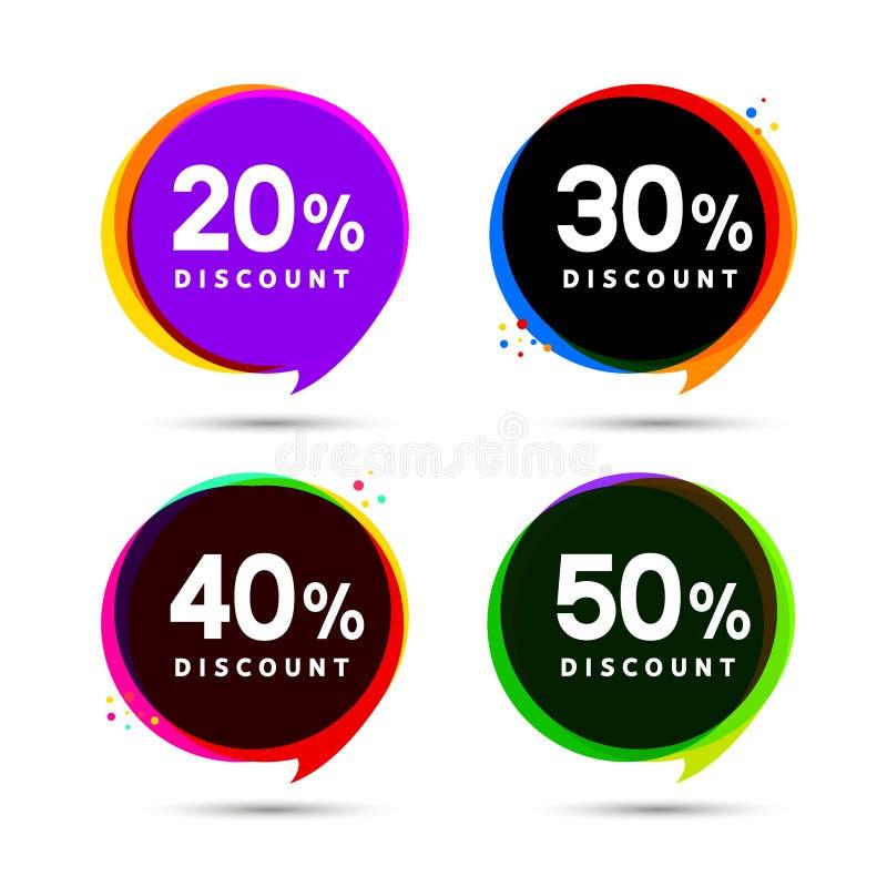 Bannières de bulle de vente de prix discount Label de prix à payer Conception plate de signe de promotion d'offre spéciale illustration stock