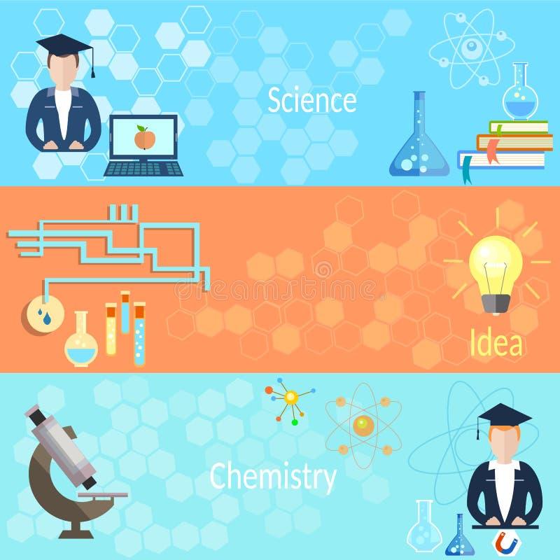 Bannières de chimie de professeur de formation illustration de vecteur