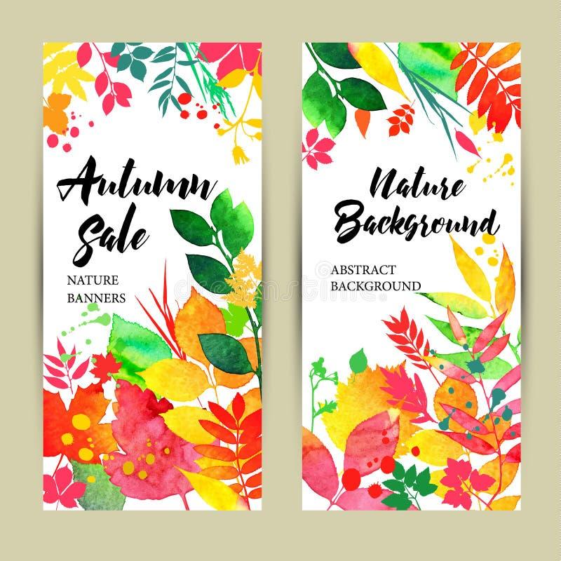 Bannières de chute avec des feuilles de couleur illustration de vecteur