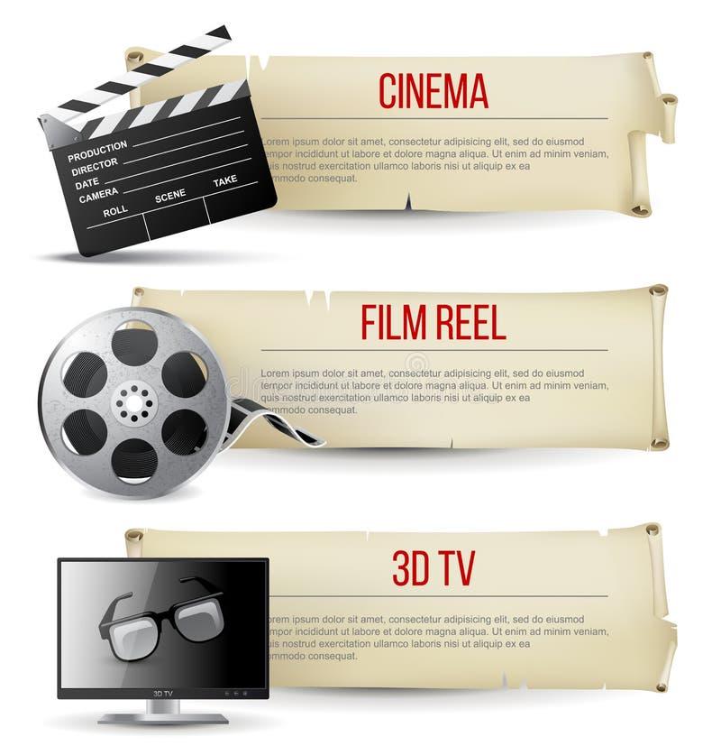 Bannières de cinéma illustration de vecteur