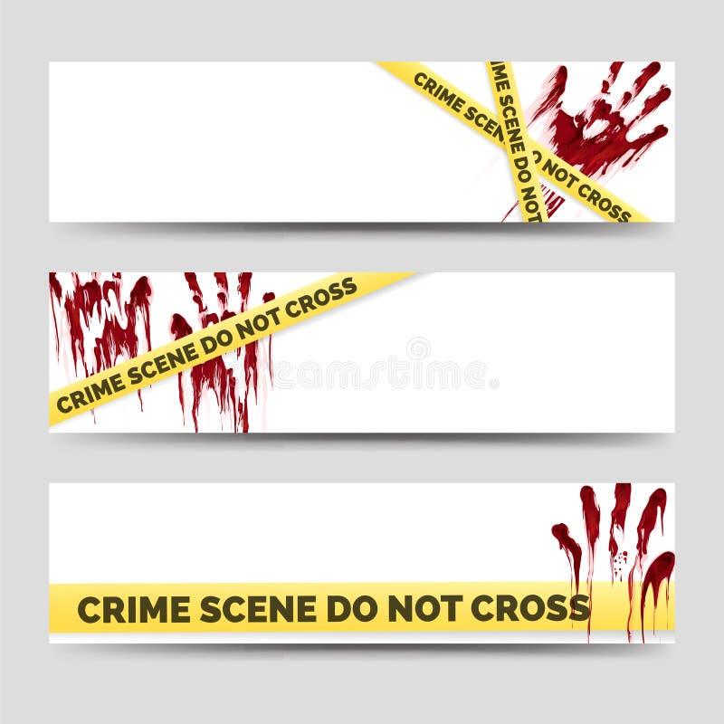 Bannières de crime avec les handprints ensanglantés illustration libre de droits