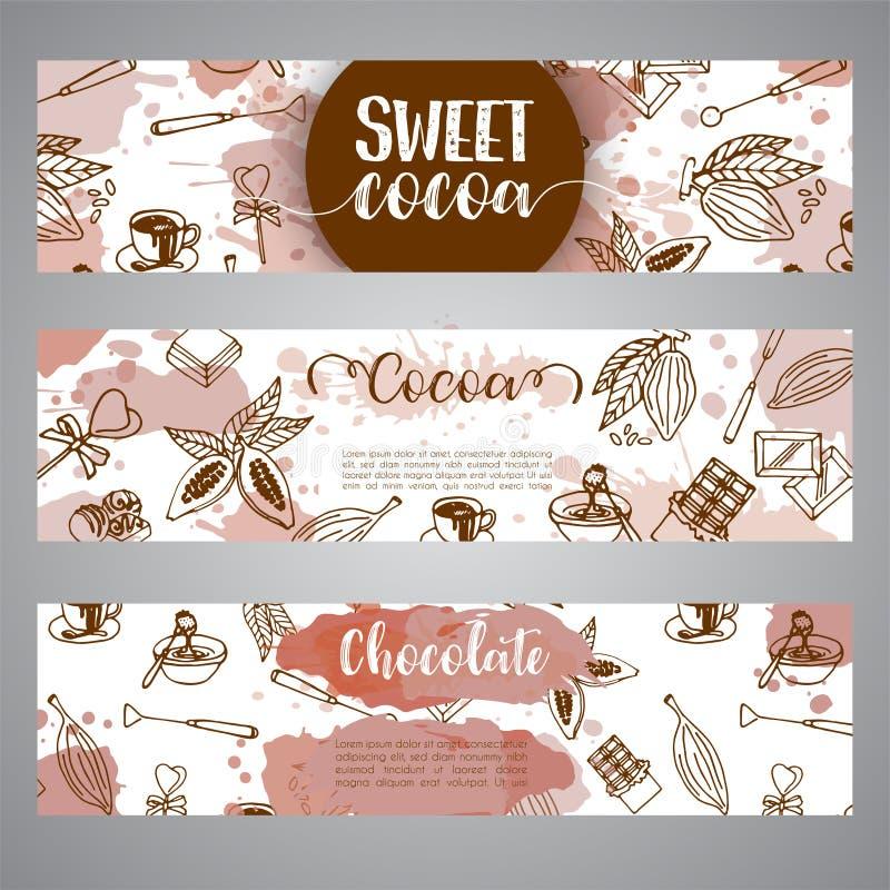 Bannières de croquis de cacao de chocolat Concevez le menu pour le restaurant, boutique, confiserie, culinaire, café, cafétéria,  illustration stock