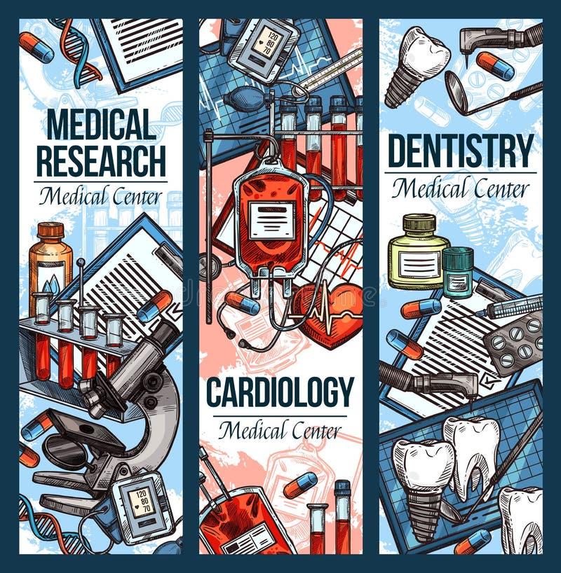 Bannières de croquis de vecteur pour l'art dentaire et la cardiologie illustration libre de droits