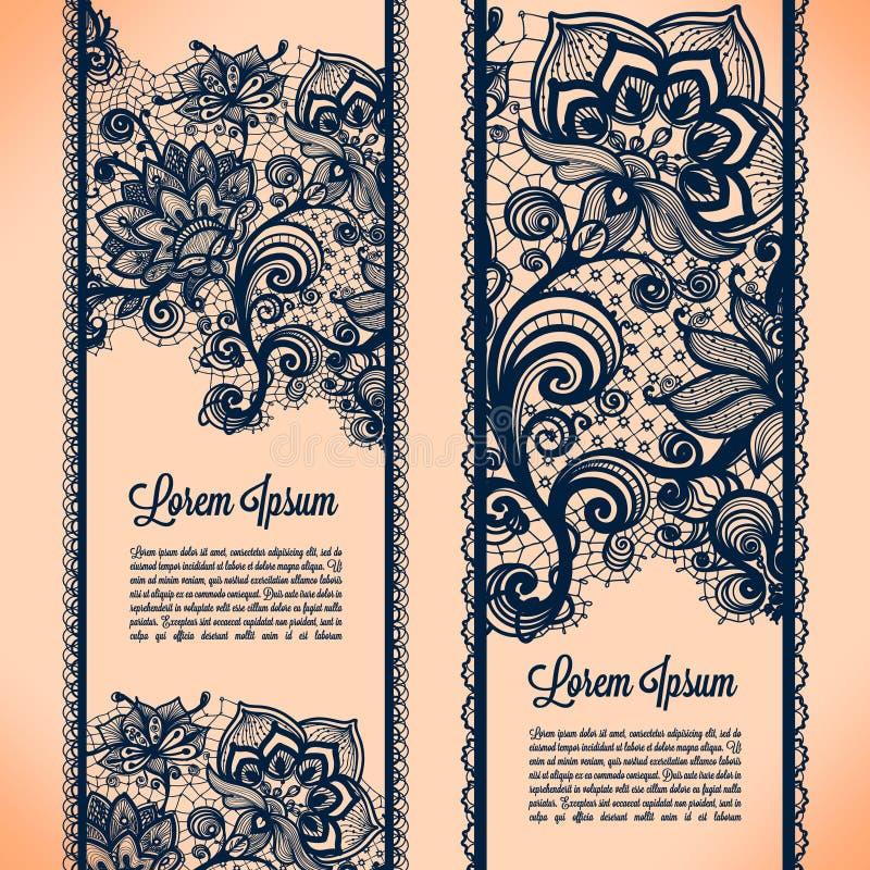 Bannières de dentelle illustration stock