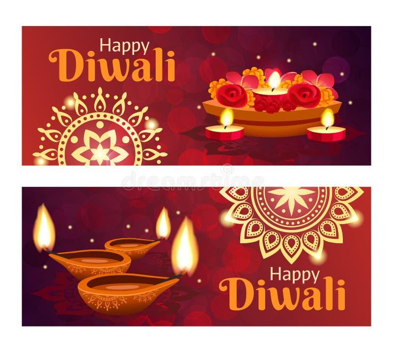 Bannières de Diwali réglées illustration de vecteur