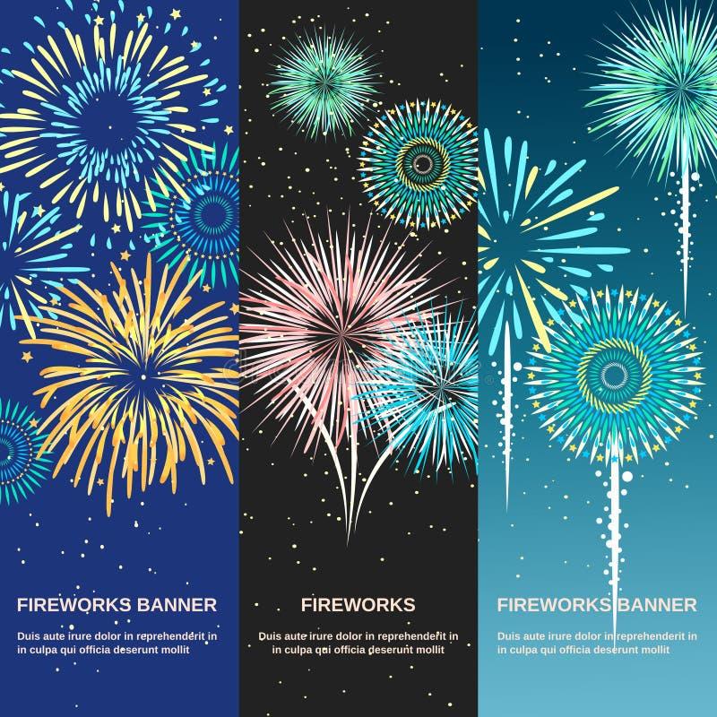 Bannières de fête de verticale d'abrégé sur feu d'artifice illustration de vecteur