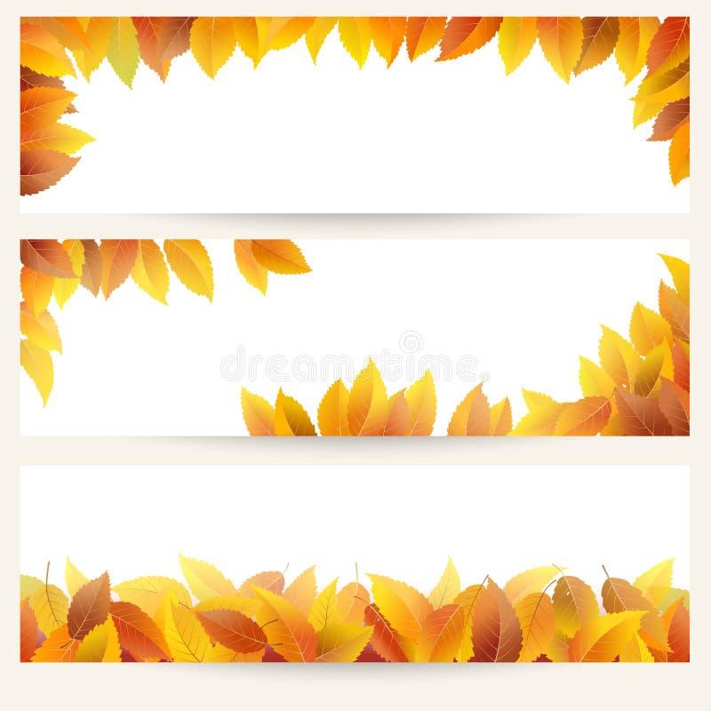 Bannières de feuilles d'automne illustration de vecteur