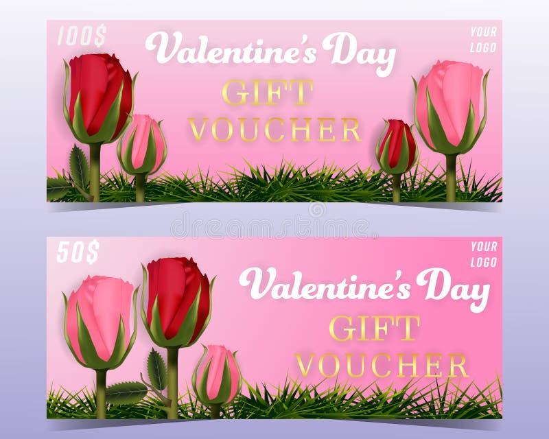 Bannières de fond de bon de cadeau de Saint-Valentin réglées avec les roses et l'herbe photographie stock
