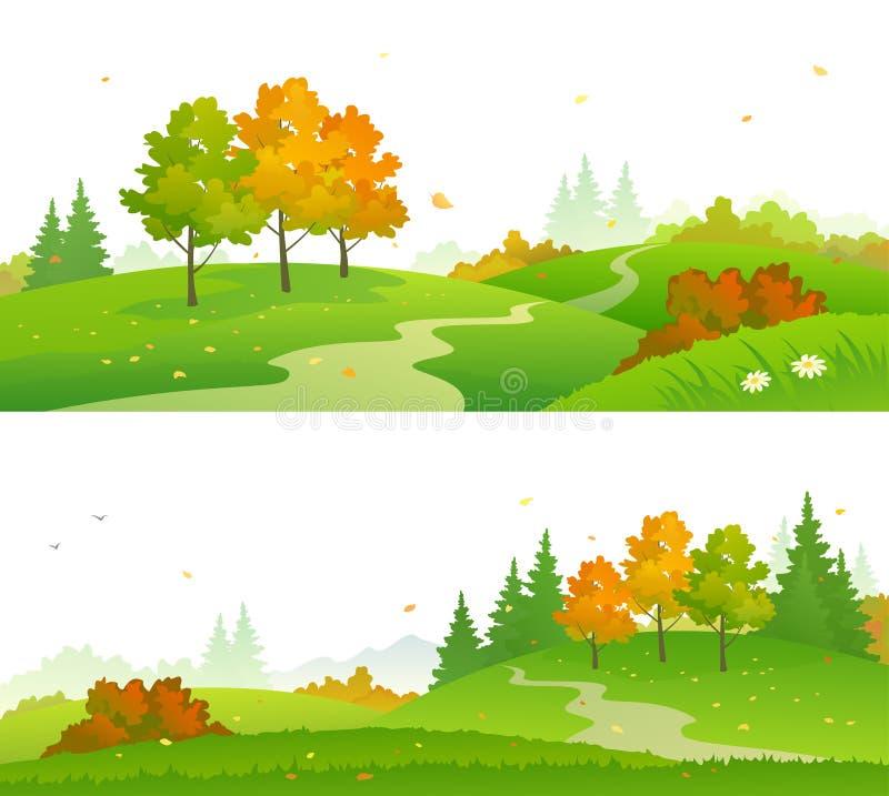 Bannières de forêt d'automne illustration stock