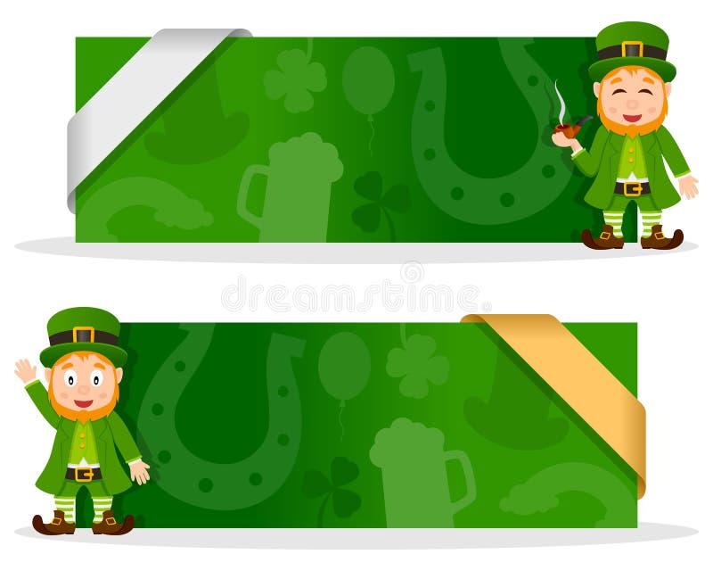 Bannières de jour de St Patrick s avec le lutin illustration stock