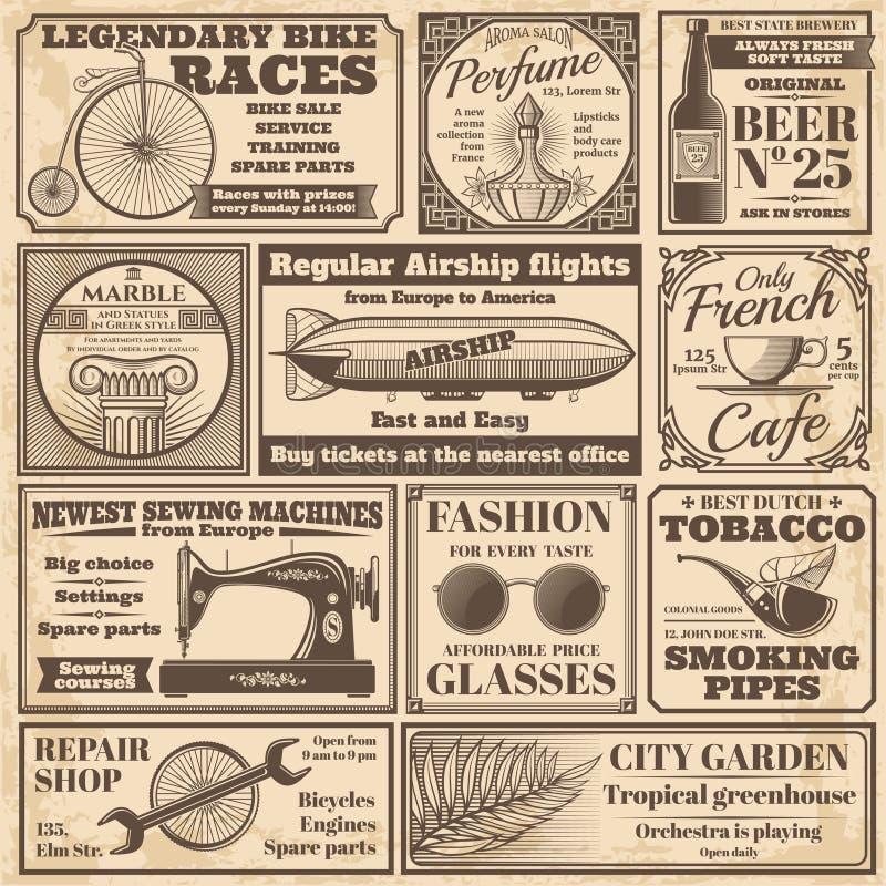 Bannières de journal de vintage et ensemble de vecteur de labels de la publicité illustration de vecteur