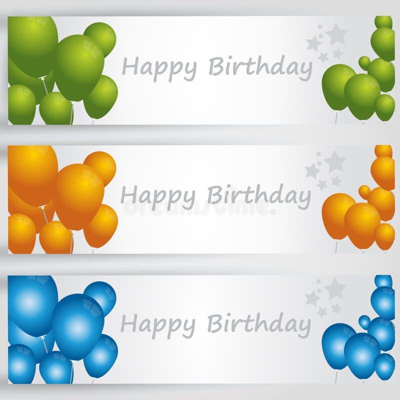 Bannières de joyeux anniversaire avec les ballons colorés Vecteur images libres de droits