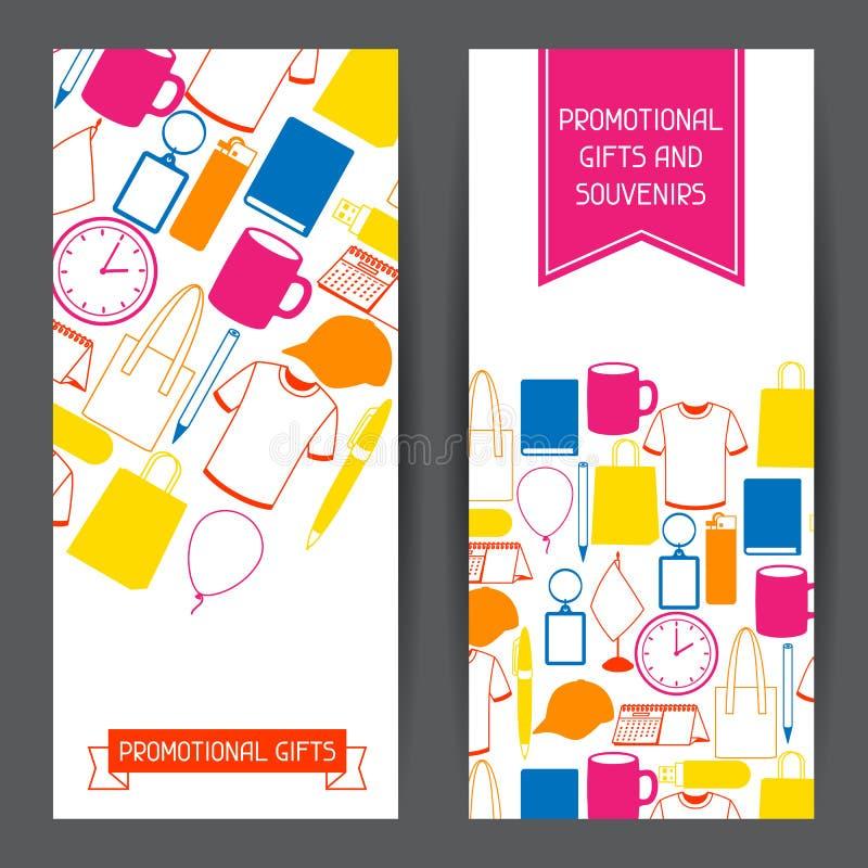 Bannières de la publicité avec les cadeaux et les souvenirs promotionnels illustration de vecteur