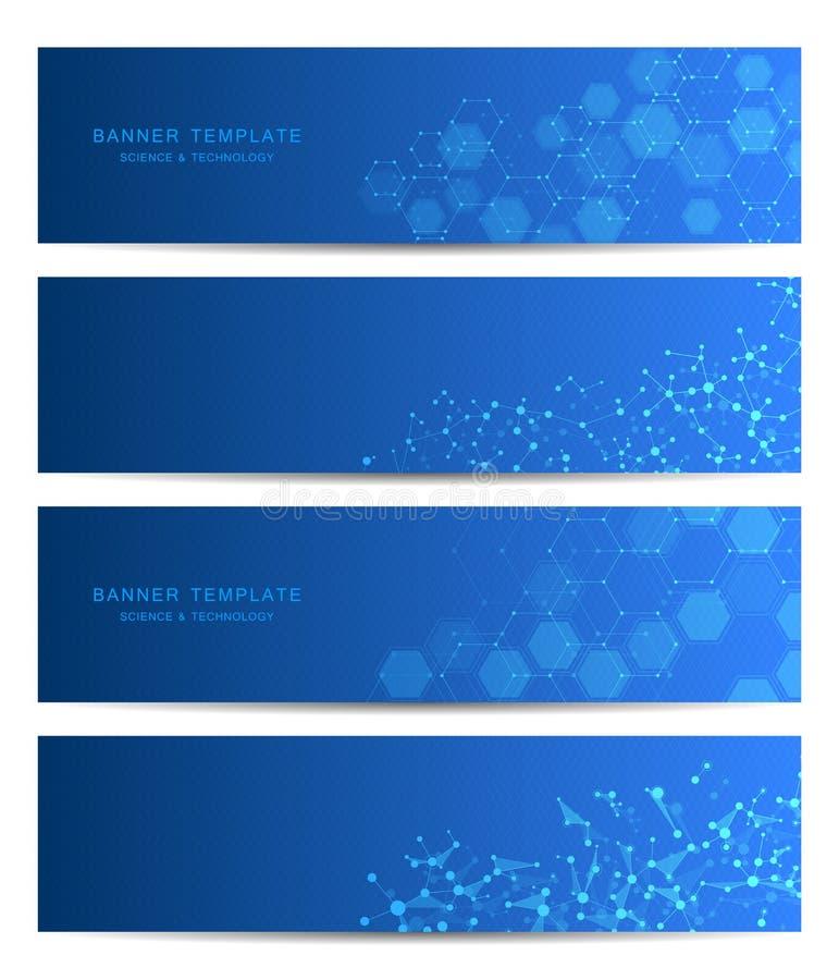 Bannières de la science et technologie Fond de structure de molécule d'ADN Concept scientifique et technologique Vecteur illustration libre de droits